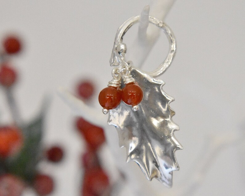 Holly leaf tree decoration Sterling Silver Hallmarked - Carnelian Beads